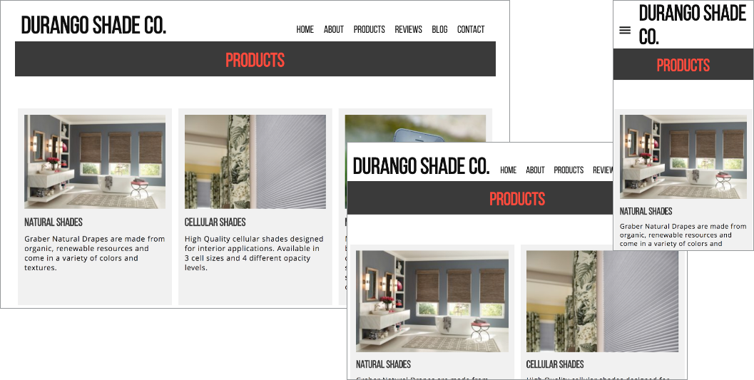 Website I designed at various screen sizes