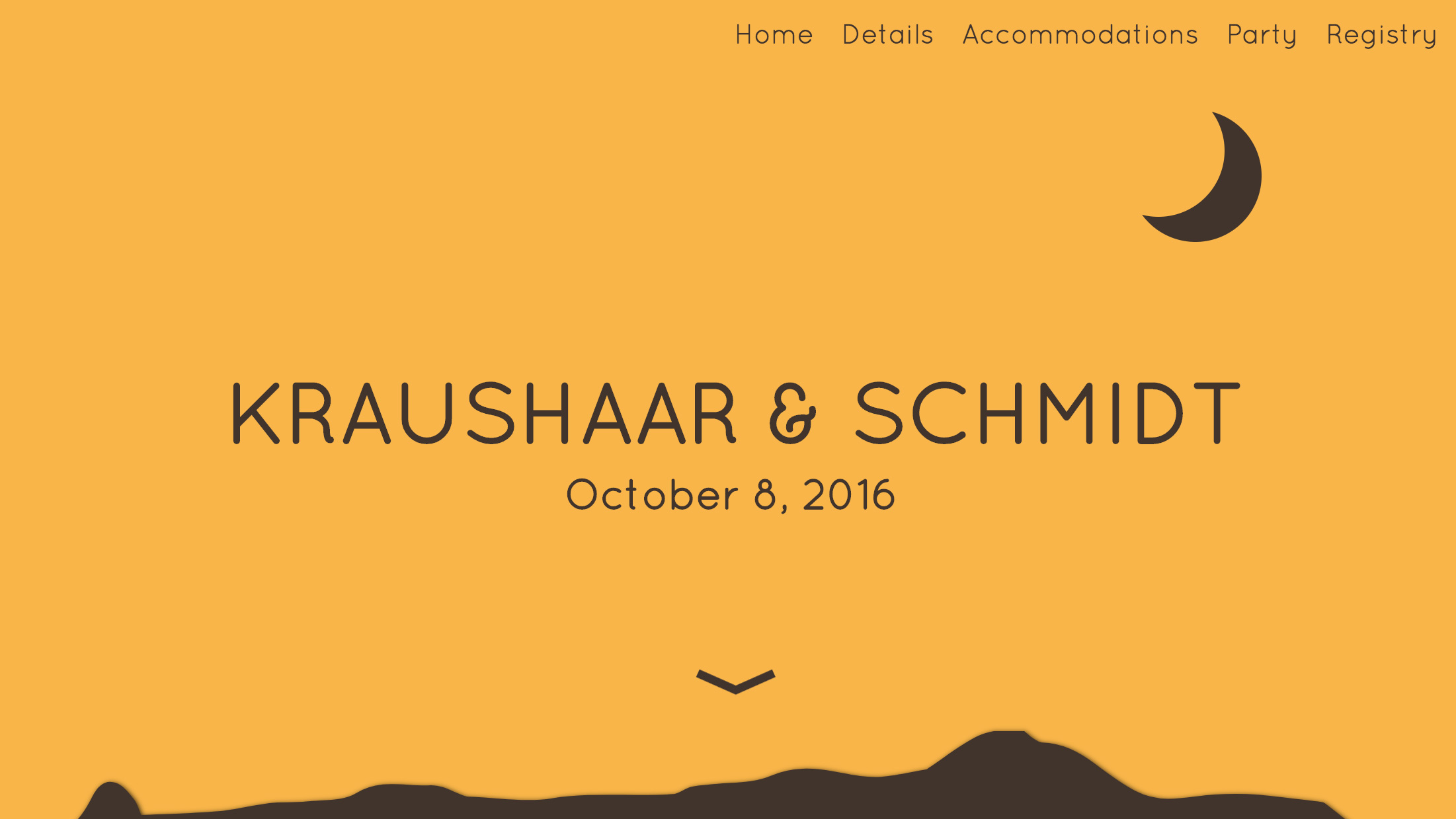 screen grab of Krashaar and Schmidt Wedding Website.